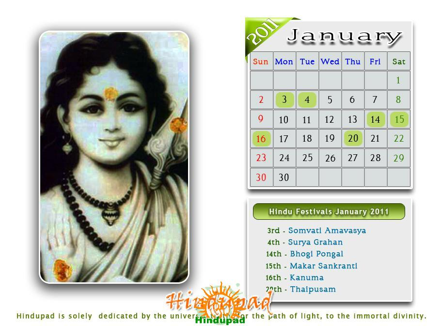 2011 calendar wallpaper. Hindu calendar January 2011 or