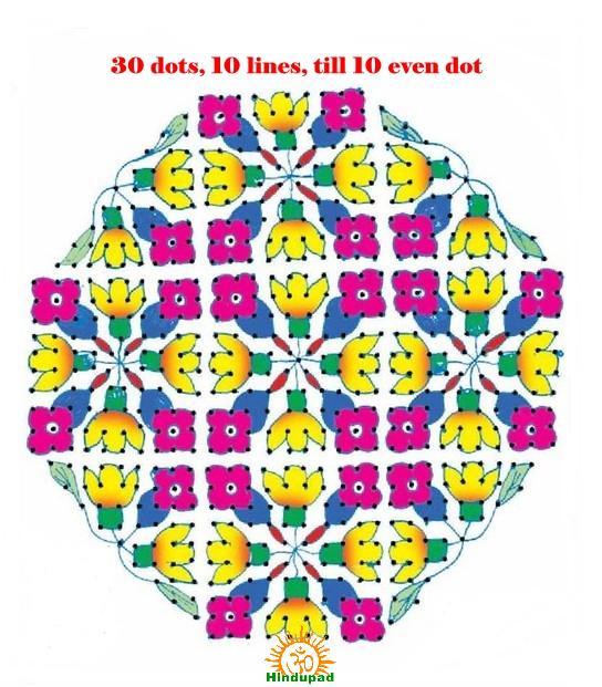 rangoli design with dots lines hindupad
